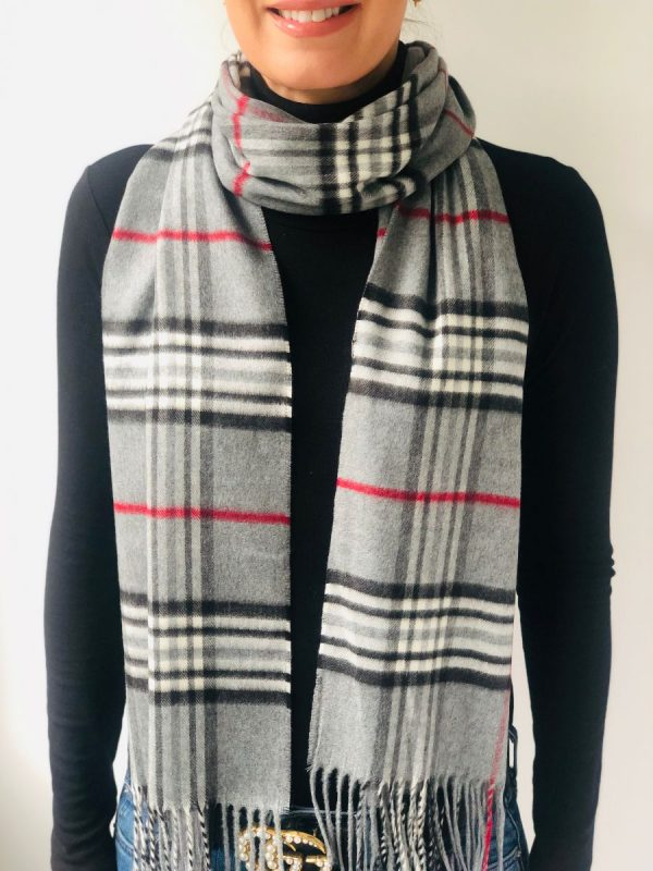 Little Red Kiss | Fashionable and Affordable Accessories | Fraas Grey White Red Double Check Scarf