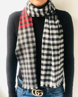 Little Red Kiss | Fashionable and Affordable Accessories | Fraas Mini Check Red White Black Scarf