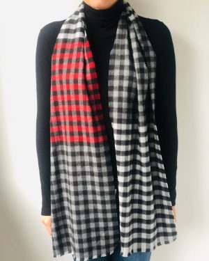 Little Red Kiss | Fashionable and Affordable Accessories | Fraas Mini Check Red White Grey Scarf