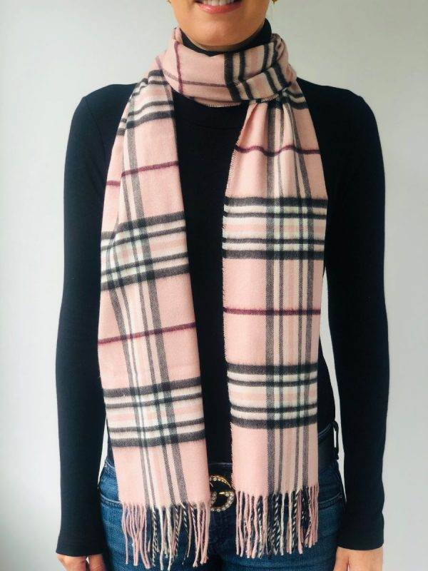 Little Red Kiss | Fashionable and Affordable Accessories | Fraas pale Pink Check Scarf