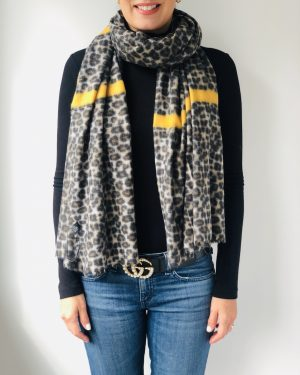 Little Red Kiss | Fashionable and Affordable Accessories | Seville Mustard Yellow Leopard Print Scarf