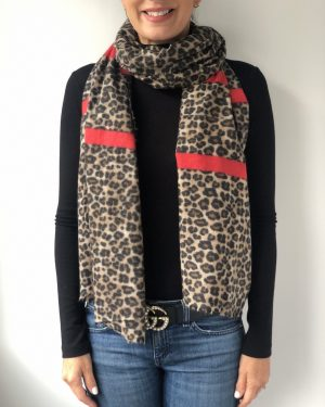 Little Red Kiss | Fashionable and Affordable Accessories | Sienna Red leopard print scarf