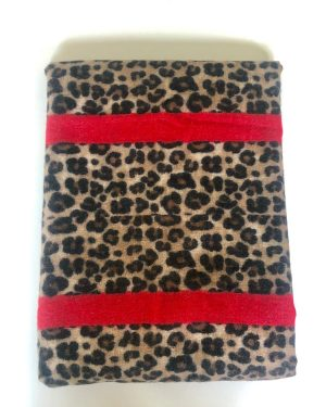 Little Red Kiss | Fashionable and Affordable Accessories | Leopard Print and Red Stripe Scarf
