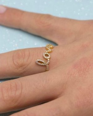Little Red Kiss   Fashionable and Affordable Accessories   Sparkly Love Gold Ring