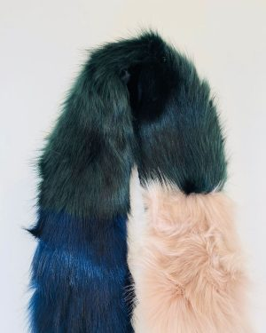 Little Red Kiss | Fashionable and Affordable Accessories | Green Blue faux Fur Wrap