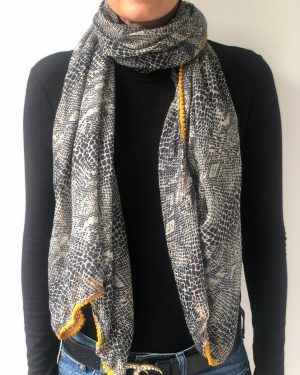 Little Red Kiss | Fashionable and Affordable Accessories | Tribal Snake Skin Print Mustard Scarf