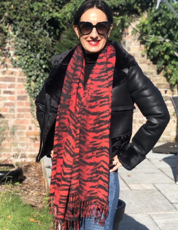 Little Red Kiss | Fashionable and Affordable Accessories | Red Tiger Print Scarf