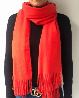 Little Red Kiss | Fashionable and Affordable Accessories | Chelsea Coral Orange Soft Scarf