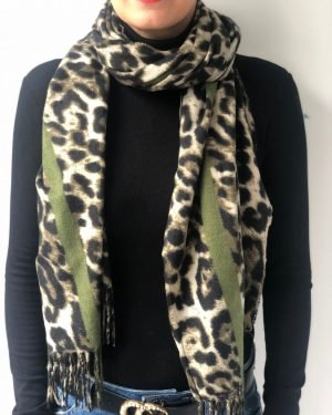 Little Red Kiss | Fashionable and Affordable Accessories | Green Leopard Print Scarf