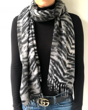 Little Red Kiss | Fashionable and Affordable Accessories | Grey Tiger Scarf