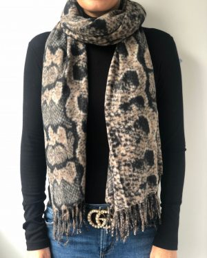 Little Red Kiss | Fashionable and Affordable Accessories | Mocha Python Print Scarf
