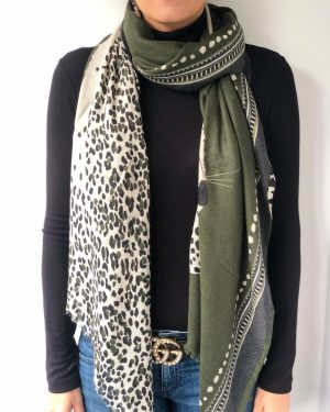 Little Red Kiss | Fashionable and Affordable Accessories | Olive Green Panther Scarf