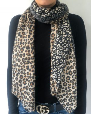 Little Red Kiss | Fashionable and Affordable Accessories | Triple Leopard Beige Grey Monochrome Scarf