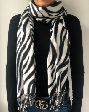 Little Red Kiss | Fashionable and Affordable Accessories | White Balck Zebra Print Scarf