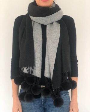 Little Red Kiss | Fashionable and Affordable Accessories | Black Grey Reversible Pom Pom Scarf