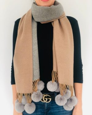 Little Red Kiss | Fashionable and Affordable Accessories | Caramel Grey Reversible Pom Pom Scarf