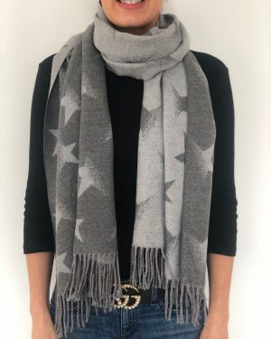 Little Red Kiss | Fashionable and Affordable Accessories | Dark and Light Grey Star Scarf