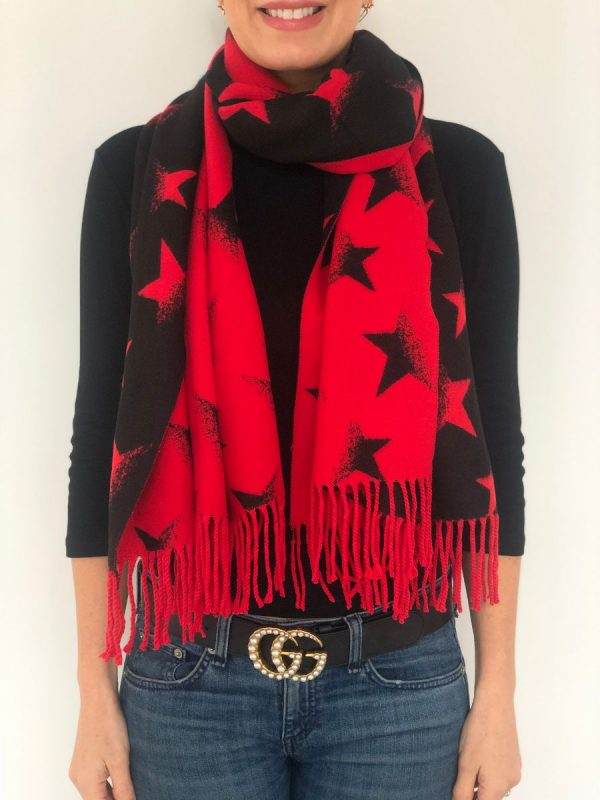 Little Red Kiss | Fashionable and Affordable Accessories | Red Black Reversible Star Scarf