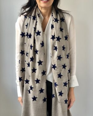 Little Red Kiss | Fashionable and Affordable Accessories | Scarf and blue stars